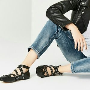 NWT Zara leather ballerina flats with strap 7.5
